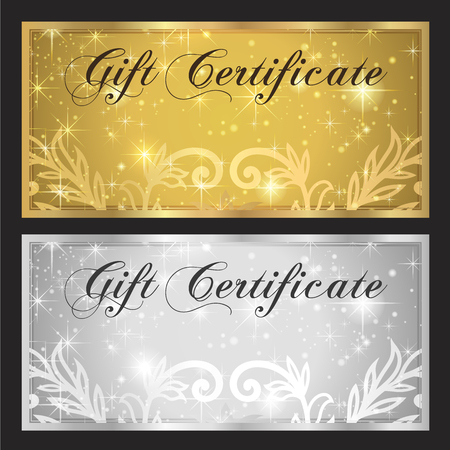 Voucher, Gift certificate, Coupon template. White and gold background design with stars for ticket, money design, check (cheque)