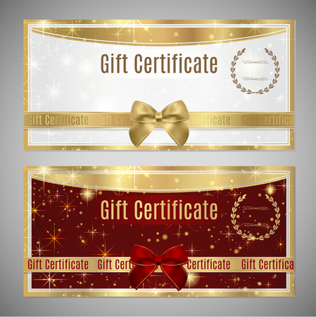 Voucher, Gift certificate, Coupon template. White and red background design with red bow (ribbon) for ticket, money design, check (cheque) Illustration