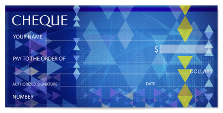 Check (cheque), Chequebook template. Guilloche pattern with abstract watermark, spirograph. Background for banknote, money design, currency, bank note, Voucher, Gift certificate, Coupon, ticket Vettoriali