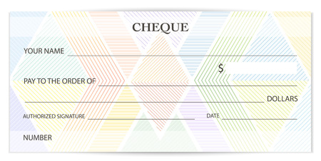 Check (cheque), Chequebook template. Guilloche pattern with abstract watermark, spirograph. Background for banknote, money design, currency, bank note, Voucher, Gift certificate, Coupon, ticket Illustration