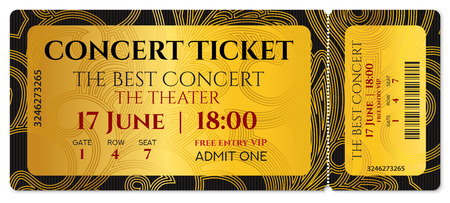 Concert ticket, golden token  with curve pattern.