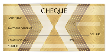 Check (cheque), Golden Chequebook template. Abstract pattern with watermark fine lines. Background for banknote, money design, currency, bank note, Voucher, Gift certificate, Coupon, ticket