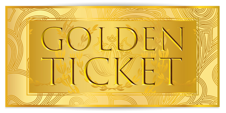 Gold ticket, golden token (coupon) isolated on white background. Design useful for any festival, party, cinema, event, entertainment show