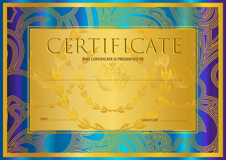 Certificate, Diploma (golden design template, colorful background) with floral, filigree pattern, scroll border, gold frame. Certificate of Achievement, coupon, award, winner certificate