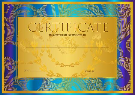 Zertifikat, Diplom (goldene Designschablone, bunter Hintergrund) mit Blumen-, mit Filigran geschmücktem Muster, Rollengrenze, Goldrahmen. Leistungsnachweis, Gutschein, Auszeichnung, Siegerurkunde Standard-Bild - 99016640