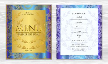 Design Restaurant Menu template in black color with gold frame pattern (border). Elegant luxe gold cover useful for Cafe Menu, brochure, coffee house, wedding invitation design