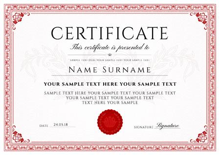 Certificat, diplôme d'achèvement avec cadre et modèle de bordure