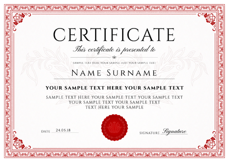 Certificate, Diploma of completion with Frame and Border template