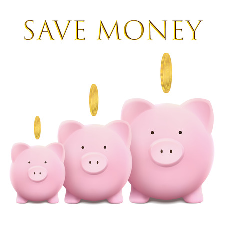 Piggy bank vector illustration with gold coin.  イラスト・ベクター素材