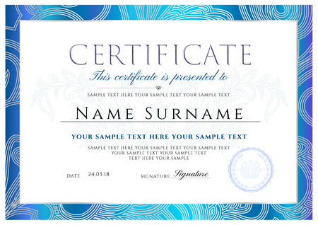 Certificate, Diploma of completion with Frame and Border template Illustration