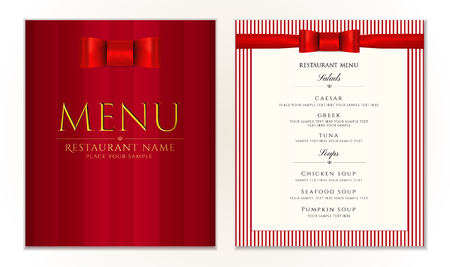 Design Restaurant Menu template with red bow and strips. Vetores