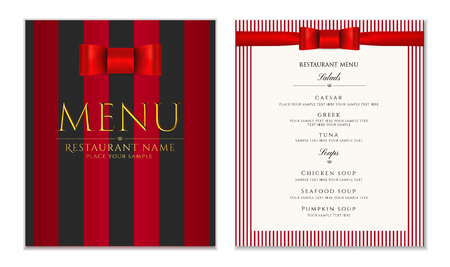 Design Restaurant Menu template with red bow and strips.
