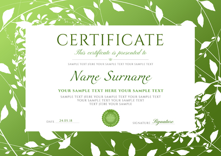Certificate of completion template with green leaves pattern