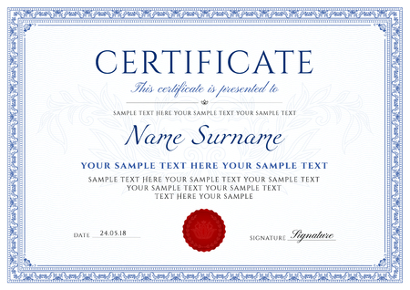 Certificate design template with blue border.