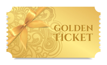Golden ticket with bow design Stock Vector - 100176935