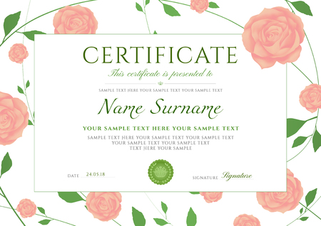 Certificate of completion template with flowers Roses and Green floral pattern frame