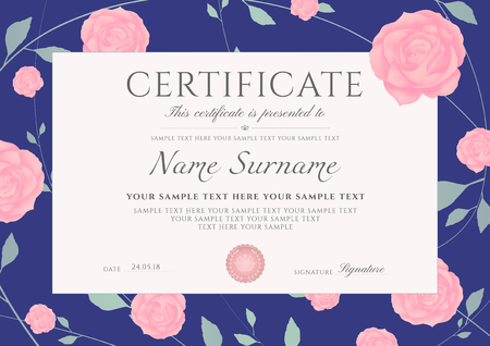 Certificate of completion template with flowers
