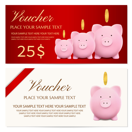 Voucher, gift certificate, coupon template design with piggy bank vector and red bow for ticket design, discount gift card. Saving bank account concept on isolated background finance capital. Illustration