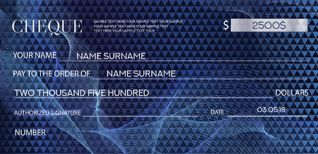 Checkbook template, guilloche pattern with abstract watermark. Dark blue background for banknote, money design, currency, bank note, voucher, gift certificate, coupon, ticket.