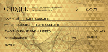 Gold Check (cheque), Chequebook template. Guilloche pattern with abstract watermark. Golden background for banknote, money design, currency, bank note, Voucher, Gift certificate, Coupon, ticket Illustration