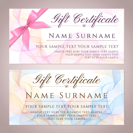 Gift certificate, Gift Voucher, Gift Coupon template. Guilloche pattern (watermark) with bow, spirograph. Background for banknote, money design, currency, bank note, Check (cheque), Chequebook