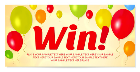 Celebration Win banner with open gold, red gift box and colorful air balloons. Also useful for birthday gift card, competition, contest reward Illustration