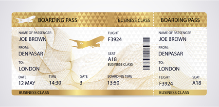 Golden Boarding pass (ticket, traveler check template) with aircraft (airplane or plane) silhouette on gold guilloche background. Travel by Aerial Transport. Enjoy your vacation. Isolated vector on white 向量圖像