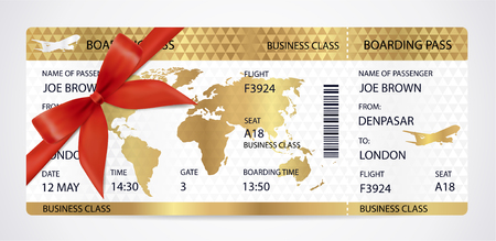 Golden Boarding pass (ticket, traveler check template) with aircraft (airplane or plane) silhouette, red bow, ribbon on gold guilloche background. Travel by Aerial Transport. Enjoy your vacation. Isolated vector on white