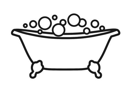 Icône isolé Baignoire avec bulles. Illustration vectorielle sur fond blanc noir et blanc