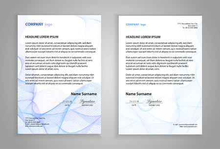 Letterhead template (printable business letter layout). Modern examples of corporate identity design pages. Company paper mockup image with guilloche lines. White background with official blue pattern