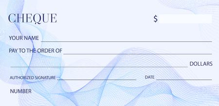 Assegno (modello di assegno), modello di libretto degli assegni. Assegno bancario in bianco con rabescatura e filigrana astratta di affari. Sfondo per il disegno delle banconote, buono, buono regalo, buono, biglietto, soldi