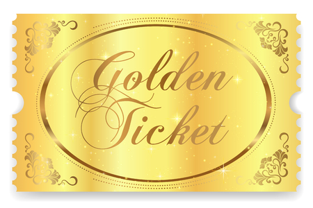 Golden ticket, Gold ticket vector template design with star golden background. Useful for Coupon, any festival, party, cinema, event, entertainment show, concert Standard-Bild - 106307645