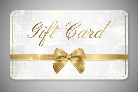 Geschenkkarte (Geschenkkartenrabatt), Geschenkgutschein mit goldenem Band, goldener Schleife und Sternmuster. Weißer Hintergrundentwurf (Licht) für Gutscheinschablonendesign, Einladung, Ticket. Vektor Vektorgrafik