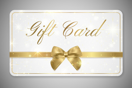 Gift card (Gift card discount), Gift coupon with golden ribbon, gold bow and star pattern. White background design (light) for voucher template design, invitation, ticket. Vector Vettoriali