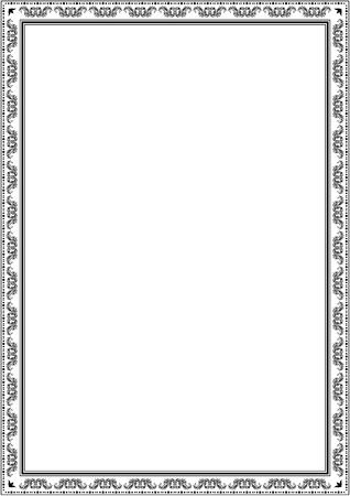 Modello struttura bordo cornice. Bordo decorativo in bianco e nero di vettore su sfondo bianco vuoto per certificato, invito, documento, menu ecc. Vettoriali