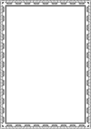 Frame border design template. Black and white decorative vector border on white blank background for certificate, invitation, document, menu etc. Illustration