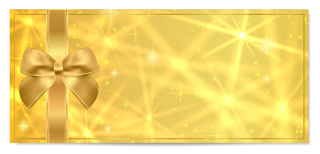 Golden ticket, Gift Certificate / Gift Voucher vector template design with star golden background. Useful for Coupon, any festival, party, cinema, event, entertainment show, concert