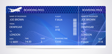 Boarding pass (airplane ticket, traveler check template) with aircraft (airplane or plane) silhouette on background. Travel by Aerial Transport. Enjoy your vacation. Isolated vector on white Illustration