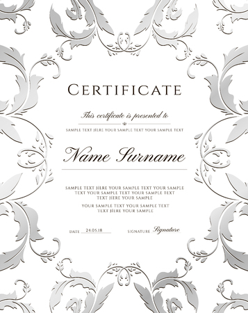 Certificate template, silver border. Editable design for Diploma, certificate of appreciation,certificate of achievement, certificate of completion,of excellence, of attendance template,award template Stock Illustratie