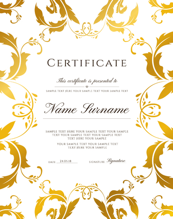 Certificate template, gold border. Editable design for Diploma, certificate of appreciation, certificate of achievement, certificate of completion,of excellence, of attendance template, award template