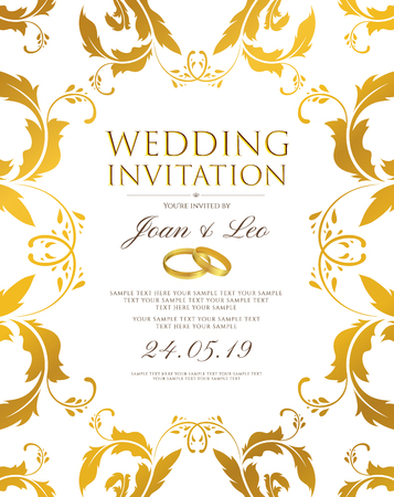 Wedding invitation design template (Save the date card). Classic Golden background with gold floral border frame useful for any Invitations, marriage, anniversary, engagement party Ilustração Vetorial