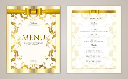 Design Restaurant Menu template with gold floral border frame (stripy pattern). Elegant luxe gold cover useful for Cafe Menu, brochure, coffee house, wedding invitation design