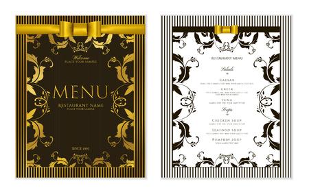 Design Restaurant Menu template with gold floral border frame (black stripy pattern). Elegant luxe gold cover useful for Cafe Menu, brochure, coffee house, wedding invitation design Vetores