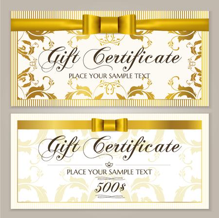 Geschenkgutscheinvorlage (Geschenkgutscheinlayout, Gutscheinvorlage). Geschenkkarten-Designbeispiel mit goldener Schleife, Band und Blumenrahmenrand. Hintergrundmuster für Restaurant / Geschäft Geschenkgutschein
