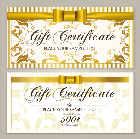 Gift certificate template (Gift Voucher layout, Coupon template). Gift card design example with golden bow, ribbon and floral frame border. Background pattern for restaurant / shop gift certificate