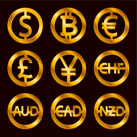World currencies signs: dollar icon, bitcoin coin, euro sign, pend sterling symbol, Swiss frank etc. Isolated golden Coins icons design, web currency banking concept vector illustration