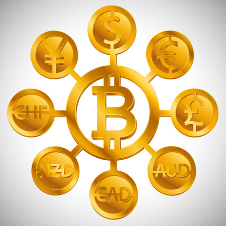 World currencies design creative concept with signs: dollar icon, bitcoin coin, euro sign, pend sterling symbol, Swiss frank etc. Isolated golden Coins icons idea, web currency banking vector  イラスト・ベクター素材