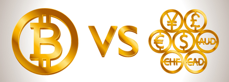 Design creative concept Bitcoin Cryptocurrency VS World currencies (signs: dollar icon, bitcoin coin, euro sign, pend sterling symbol). Isolated golden Coins icons idea, web currency banking vector