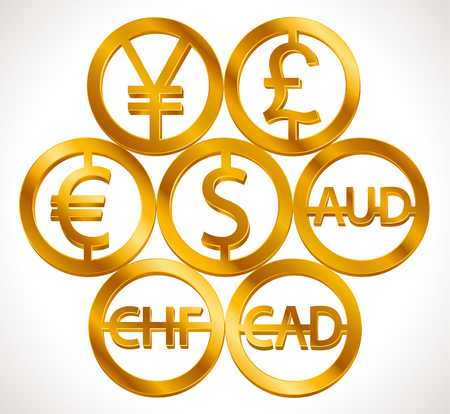 World currencies signs: dollar icon, euro sign, pend sterling symbol, Swiss frank etc. Isolated golden icons design, web currency banking concept vector illustration Illustration