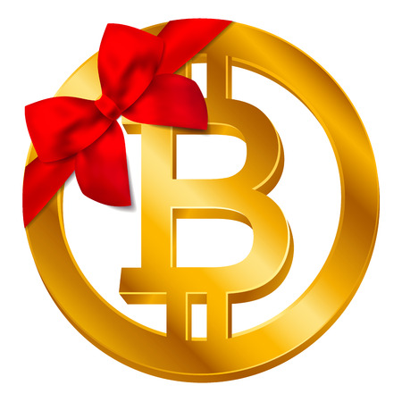 Vector cryptocurrency Bitcoin sign (Bitcoin icon) isolated on white background with red bow, red ribbon. Gift golden B coin symbol design, Digital virtual crypto currency banking concept illustration Illustration